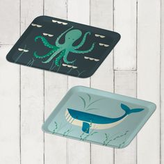 Set of two bamboo trays octopus and whale