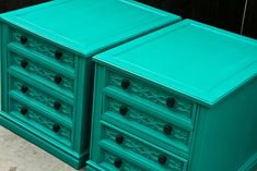 Modernly Shabby Chic Furniture: Teal Twin Nightstands/End Tables!