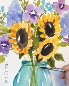 Watercolor sunflowers and lilacs in mason jar watercolor Watercolor sunflowers and lilacs in mason jar watercolor Ellen Crimi-Trent ellencrimitrent Bohemian Decor A bright and fun bouquet sunflower masonjars nbsp hellip Painting videos Watercolor Painting Techniques, Painting & Drawing, Painting Videos, Sky Painting, Watercolor Video, Watercolor Water, Water Color Painting Easy, Easy Watercolor Paintings, Easy Flower Painting