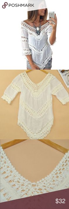 "White Crotchet Boho Beach Top ""One Size Fits Most"" Beautiful white blouse. Tops Blouses"