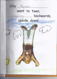 "Remake of a page from Silly Sally with photo of kiddo going ""to town, (doing something) backwards, upside down."""