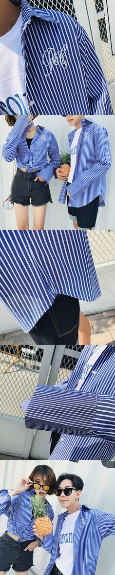 2017 Fashion Trend Headless Autumn Season Installed The Latest Couples Long Sleeves Stripe Speaker Sleeves Shirt