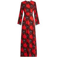 MSGM Floral-print cady maxi dress
