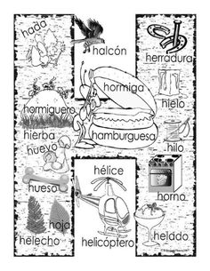 """H"" coloring page… Bilingual Classroom, Spanish Classroom, Name Activities, Alphabet Activities, Alphabet Worksheets, Spanish Language Learning, Teaching Spanish, Castellano Spanish, Spanish Posters"