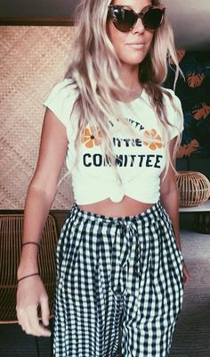 summer outfits White Printed Tee + Gingham Wide Pants