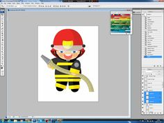 Illustrating drawing painting - cartoon fireman - rysowanie