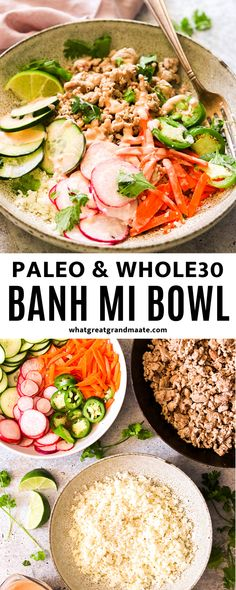 This Whole30 Bahn Mi bowl recipe is a low carb version of everyone's favorite Vietnamese sandwich with ground meat, pickled veggies, cauliflower rice, and sriracha mayo. Packed with flavor and ready in less than 30 minutes! Lunch Recipes, Paleo Recipes, Asian Recipes, Real Food Recipes, Paleo Meals, Dinner Recipes, Paleo Food, Free Recipes, Healthy Food