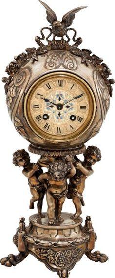 Hodinky: Hodiny, Japy Freres Fine Figurální Silver Plate Mantle hodiny s EnameledDial.  ...
