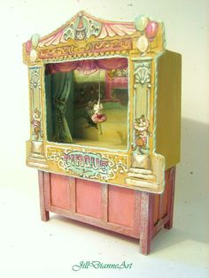 Victorian Cat and Chicken Circus Puppet Theatre by JillDianneArt