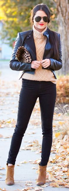 Leather jacket + pastel sweater + black pants + ankle boots