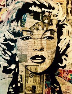 Marilyn MONROE «Amazing» Mixed Media Acrylic Painting on Canvas by Kathleen Artist.