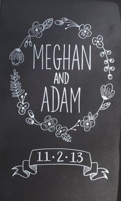 Hand Drawn Chalkboard  // Wedding Sign // Anniversary Gift // Custom Design Chalk Banner