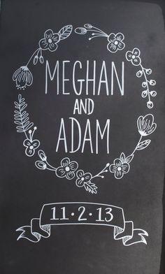 Custom Wedding Chalkboard // Perfect Wedding + Anniversary Gift Idea my ex is named Adam *sniff sniff* Chalkboard Lettering, Chalkboard Designs, Chalkboard Ideas, Perfect Wedding, Diy Wedding, Wedding Chalk Art, Green Wedding, Wedding Table, Wedding Colors