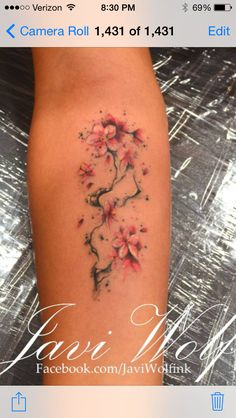 Cherry blossoms have a significant meaning.  Not only are they a reflection of God's beautiful creation but they make you 'feel' happiness.... So I may just have a tattoo like this someday..