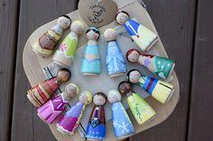 Pick ANY 3 Princesses Wooden Peg doll