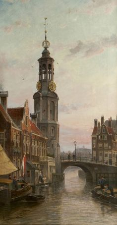 Cornelis Christiaan Dommelshuizen (Utrecht 1842-1928 Den Haag) A view of the Munttoren, Amsterdam - Dutch Art Gallery Simonis and Buunk Ede, Netherlands.