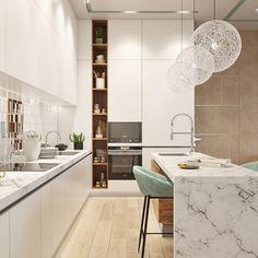 Big kitchen Big kitchen on Behance Luxury Kitchen Design, Kitchen Room Design, Big Kitchen, Kitchen Sets, Home Decor Kitchen, Interior Design Kitchen, Home Kitchens, Modern Kitchens, Kitchen Modern