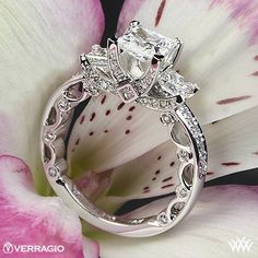 3 Stone Engagement Ring- Verragio Paradiso Collection.