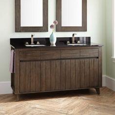 """60"""" Antioch Teak Double Vanity for Rectangular Undermount Sinks - Rustic Brown - Undermount Sink Vanities - Bathroom Vanities - Bathroom"""