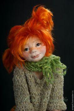Купить Авторская войлочная кукла Пеппи - рыжий, Пеппи, Пеппи длинный чулок, девочка, девчонка