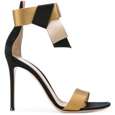 Gianvito Rossi bow strap sandals ($794) ❤ liked on Polyvore featuring shoes, sandals, black, black sandals, black stilettos, black strappy sandals, black stiletto sandals and ankle strap sandals