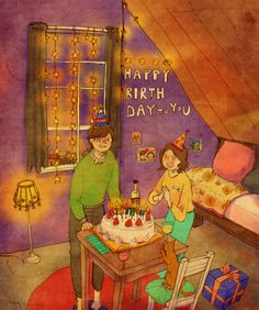 생일(Birthday) by 퍼엉 on Grafolio Love Is Sweet, What Is Love, Cute Love, Puuung Love Is, Two Worlds, Art Anime, Dibujos Cute, Couple Illustration, Couple Drawings