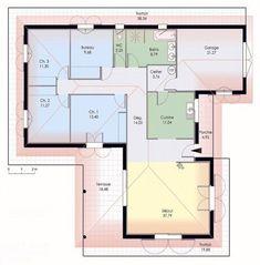 Maison de plain-pied 1 - Détail du plan de Maison de plain-pied 1 | Faire construire sa maison