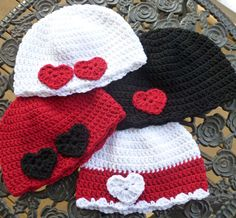 Mrs D Crochets, Etc - Adorable Valentine's hats - links to free patterns