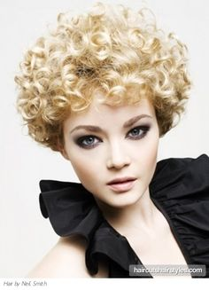 Ultra Short Curly Bob - like the makeup, not the hair