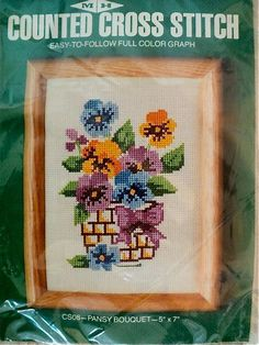 Vintage  Pansy Bouquet Counted Cross Stitch  by DocksideDesignsEtc, $7.00