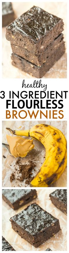 Healthy Three Ingredient Flourless Brownies- No butter, eggs or oil in this quick and easy recipe which is ready in minutes- Rich and fudgy yet so healthy too!