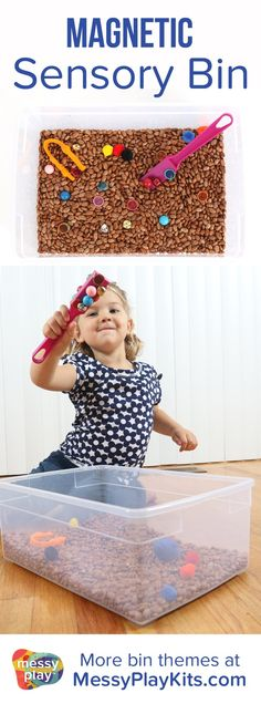 Magnetic Sensory Bin includes pinto beans, magnetic toys & nonmagnetic toys, magnet wand, and tweezers. Sensory play for kids / Learning Toys / Activity Kit for Kids /  Sensory Bin Ideas / Messy Play Kits  #sensorybin #messyplaykits