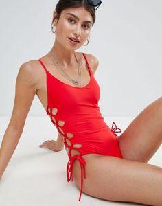 07811a14f1b04 Missguided High Leg Lace Up Swimsuit. Warm WeatherSwimsuitsBikinisOne Piece  ...