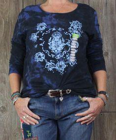 Nice New Earth Yoga XXL 2x size Tee Shirt Long Sleeve Tye Dye Organic Cotton Blnd Top