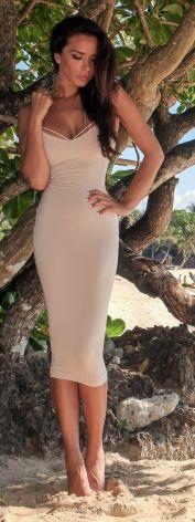 Nude Bodycon Midi Dress