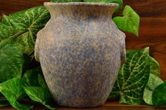 This vase is an iconic Burley Winter design. Blue over white vellum that feels nice and thick. Nice urn vase with molded ring handles. Nice heavy vase that would look great on a porch. Zanesville Ohio, Urn Vase, 1920s, Pottery, Antiques, Winter, Blue, Ceramica, Antiquities