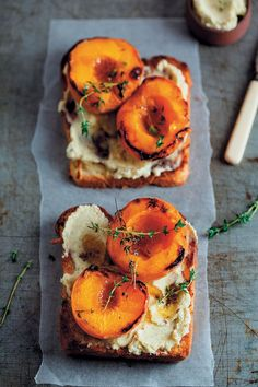 Brioche with thyme-roasted peaches and vanilla mascarpone is so sweetly flavourful that you'll want to have them every day for an indulgent breakfast.