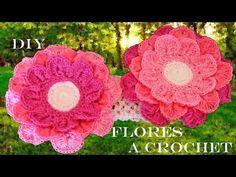 DIY flores hermosas de colores - beautiful colorful flowers to crochet - YouTube