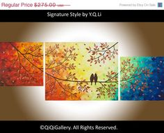 "Abstract Landscape Painting Original Modern Heavy Texture Impasto Palette Knife Tree Wall Décor ""The Sun Shines on Us"""