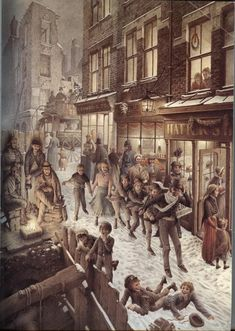 "Charles Dickens ""Christmas Carol"" – Illustrated by Roberto Innocenti: chetvergvecher — ЖЖ Christmas Scenes, Christmas Past, Christmas Books, Vintage Christmas Cards, Christmas Pictures, Illustration Noel, Christmas Illustration, Ballet Illustration, Christmas Carol Charles Dickens"