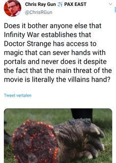 Dr Strange in Avengers Infinity War could cut Thanos hand. Marvel Jokes, Avengers Memes, Marvel Funny, Marvel Avengers, Marvel Comics, Avengers Theories, Avengers Cast, Dc Movies, Pixar Movies