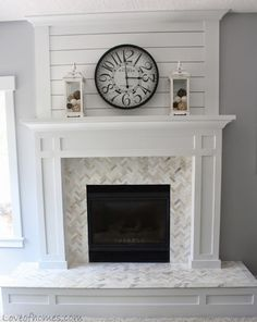 White and Grey Modern Farmhouse Fireplace – Fireplace tile ideas Fireplace Redo, Shiplap Fireplace, Farmhouse Fireplace, Fireplace Hearth, Fireplace Remodel, Living Room With Fireplace, Fireplace Surrounds, Fireplace Design, My Living Room