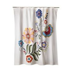 Mudhut™ Maya Shower Curtain - - with bold towels. Flower Shower Curtain, Floral Shower Curtains, Target Shower Curtains, Hall Bathroom, Master Bathroom, Bathrooms, Boho Boutique, New House Plans, Guest Bath