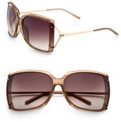 Gucci   Brown Square Plastic Sunglasses