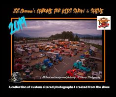 A collection of photographs take at the Chrome for Kids Big Rig Truck Show