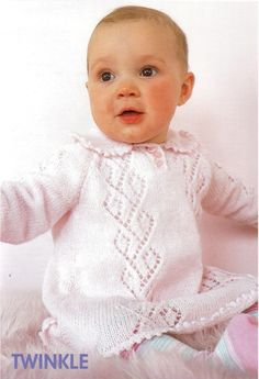 (No Baby Knitted Tunic/ dress Knitting pattern. Knitted in 4 ply knitting wool on number needles. Fits months and months. You will receive a quality photocopy of my original pattern. Baby Boy Knitting Patterns Free, Baby Girl Patterns, Baby Cardigan Knitting Pattern, Baby Clothes Patterns, Knitting For Kids, Knit Patterns, Cloth Patterns, Crochet Poncho, Blouse Patterns