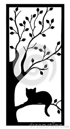 cat-silhouette-sitting-tree-isolated-white-background Vector Company, Company Logo, Tree Silhouette, Cat Sitting, Logo Design, Concept, Cats, Decor, Gatos