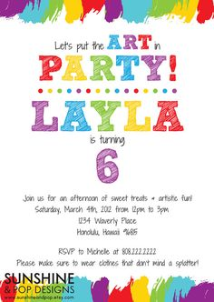 Items similar to Printable Art Party Invitation - Birthday DIY Rainbow Paint Party Invite - DIY paint arts crafts colorful invitation child children on Etsy Art Party Invitations, Printable Birthday Invitations, Invitation Wording, Invitation Ideas, Invites, Art Birthday, Birthday Party Themes, Birthday Ideas, Kunst Party