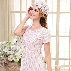 Vente en gros de 2015 new coton maternité de nuit pyjamas femmes enceintes de soins infirmiers allaitement vêtements nightgown pour manches courtes