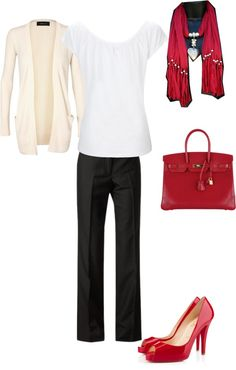 """""""casual work clothes with red heart scarf"""" by mgrooney on Polyvore"""